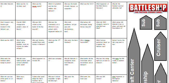 GCSE 9-1 History - USA Conflicts at home and abroad - Revision - Battleships game