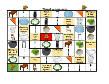 Arrumar a mesa (Set the table in Portuguese) Caracol Snail game