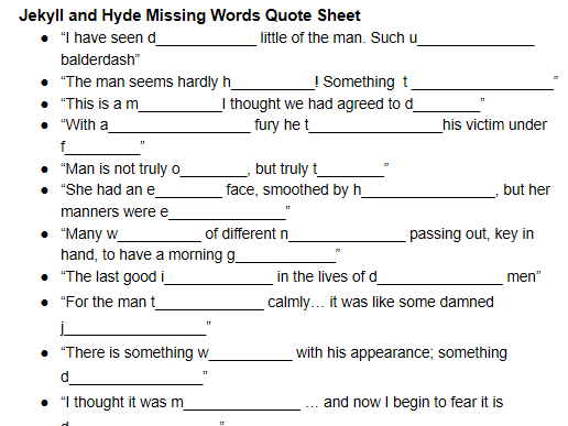 Jekyll and Hyde: Missing Words from Key Quotes (Workheet)