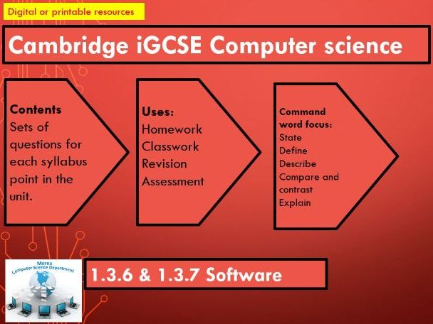 iGCSE Computer Science Revision Activities Units 1.3.6 and 1.3.7 Software