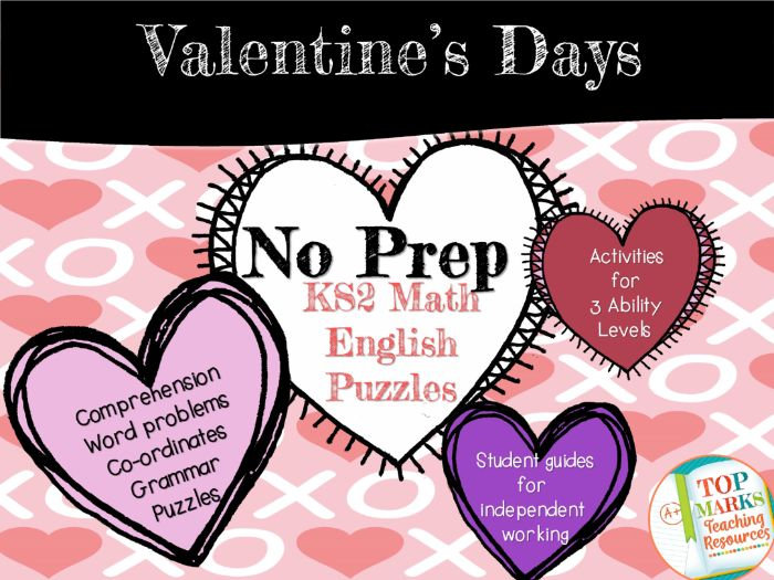 Valentine's Maths and English Pack KS2 (Comprehension, word problems, Co-ordinates)
