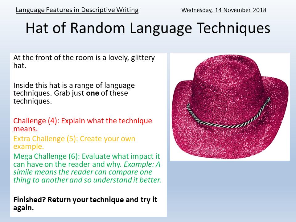 Language Techniques for Descriptive/Creative Writing