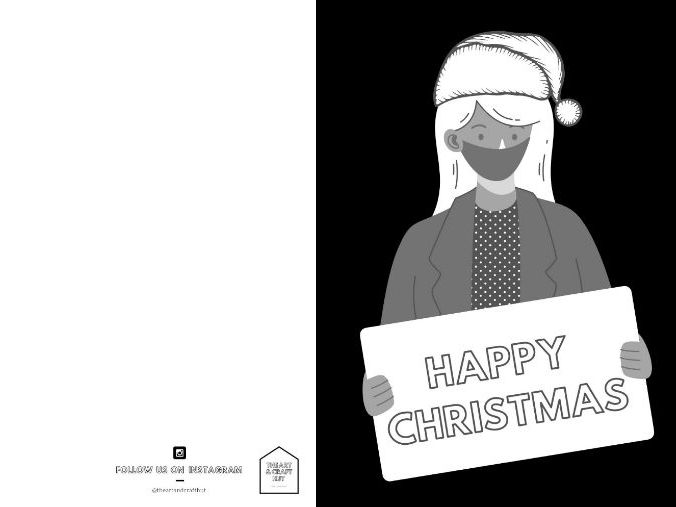 2020 Colour-In Christmas Cards | Covid/Coronavirus | XMAS Crafts | Remote Or In School Activity