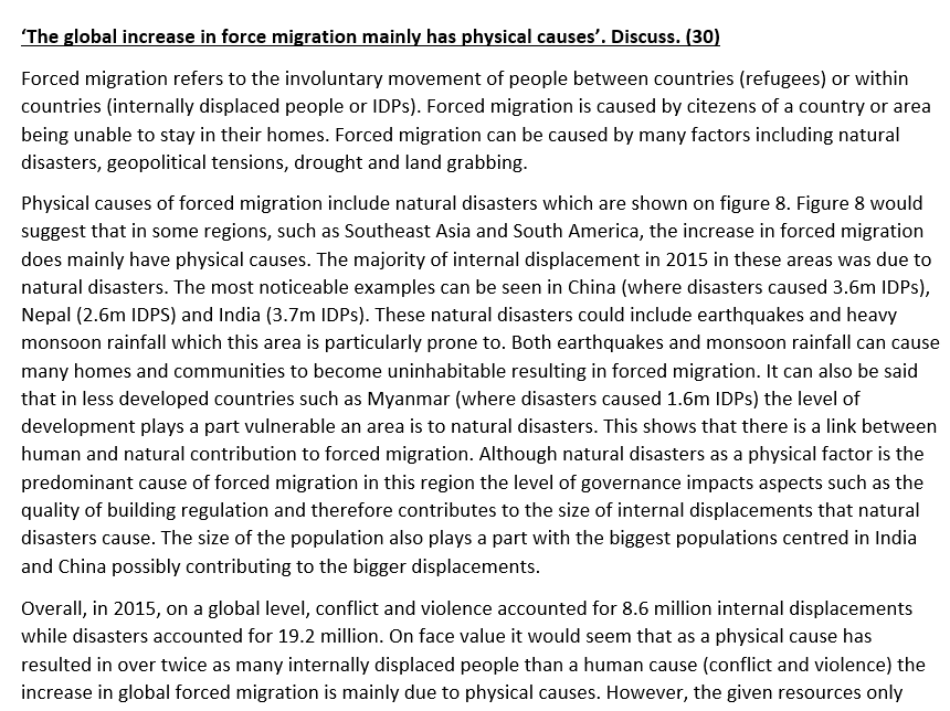 Eduqas A level Geography model answer- 21st Century Challenges