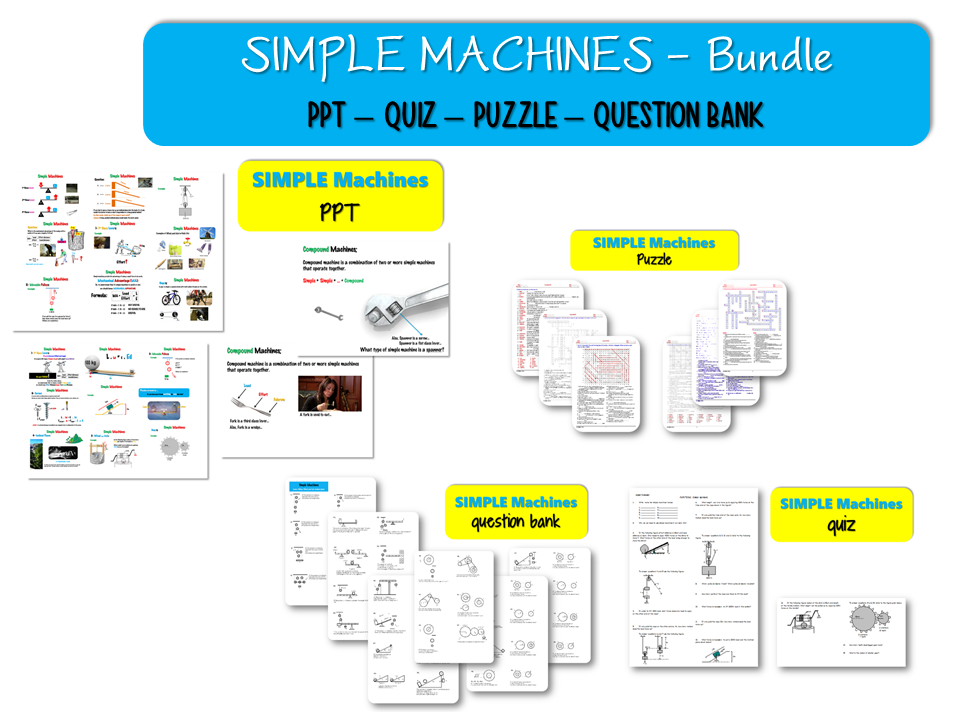 Bundle - Simple MACHINES; ( PPT – QUIZ – PUZZLE – QUESTION BANK )