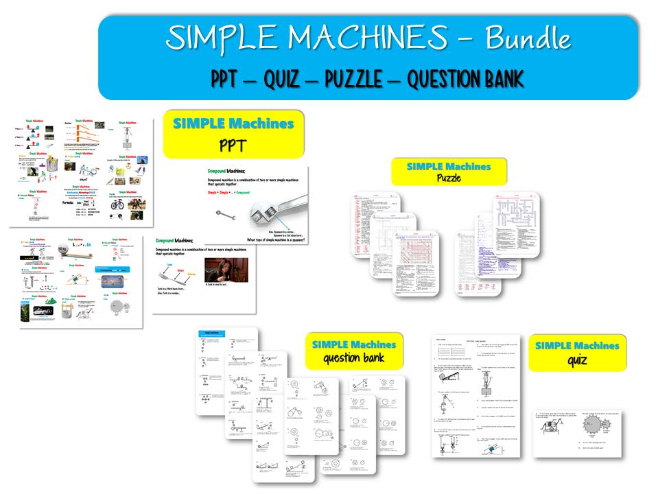 Bundle - Simple MACHINES; ( PPT – QUIZ – PUZZLE – QUESTION BANK )
