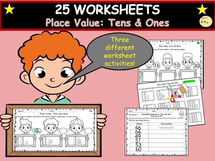 Place Value: Tens and Ones Worksheets and Cut/Paste Activities, Complete Table