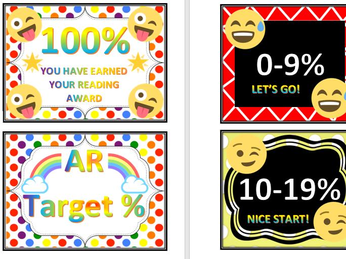 Emoji Accelerated Reader Target Display