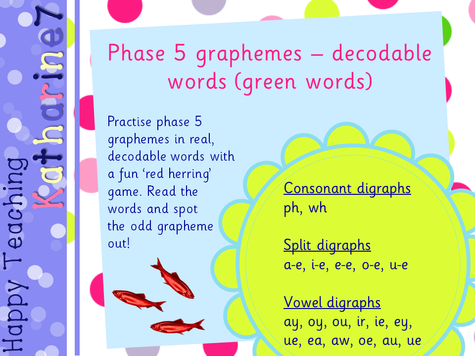 Phase 5 graphemes - decodable words (green words)