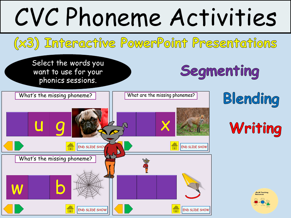 CVC PowerPoint Presentations  x3, Whole Class Activities - Mixed Word Word Segment Blend Write