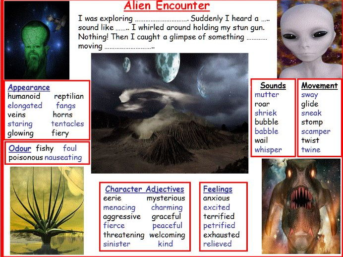 alien planet story mats to aid creative writing by jazel