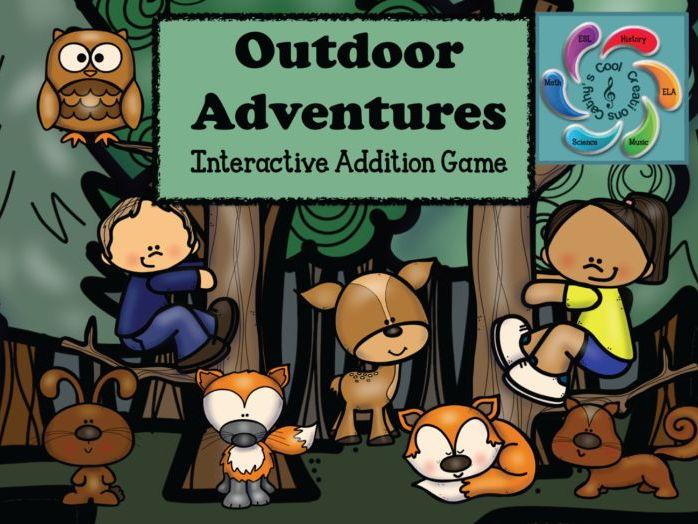 Interactive Addition Games for Google Slides /Adobe Reader-Outdoor Adventures