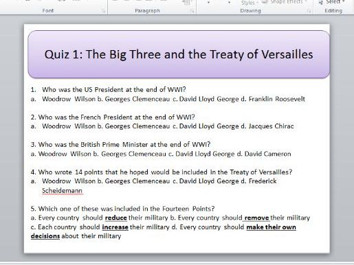 Conflict and Tension 1918-1939 multiple choice revision quizzes