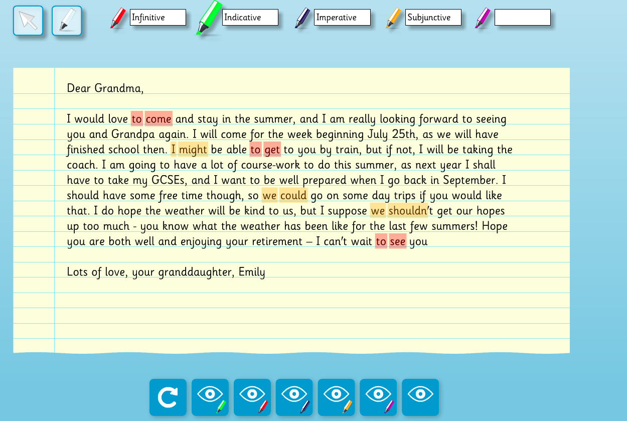 Interactive Highlighter Text Analysis  - Verbs (Text 2) - Year 6 Spag