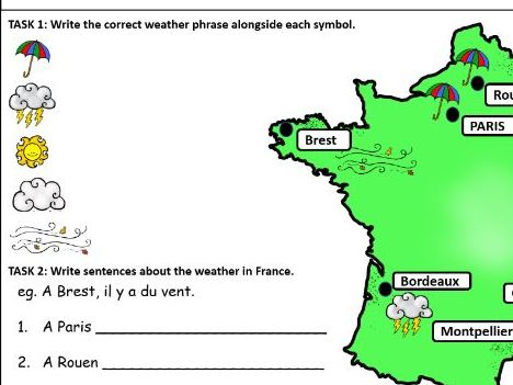 French Worksheets: Weather (simple)