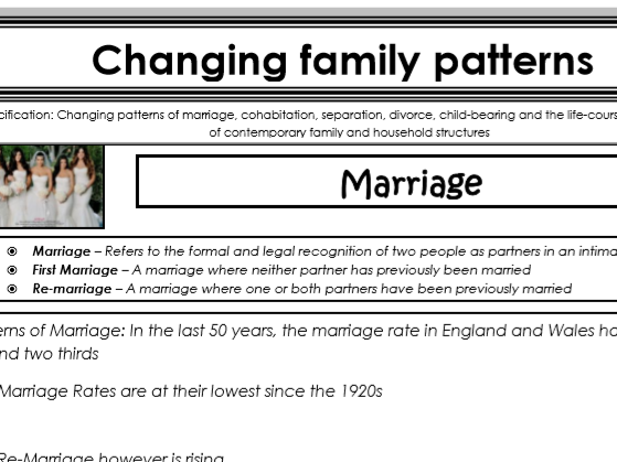 AQA Sociology - Year 1 - Families & Households - Changing family patterns