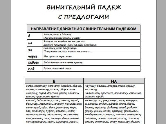 Accusative case with prepositions in Russian (Handout and exercises)