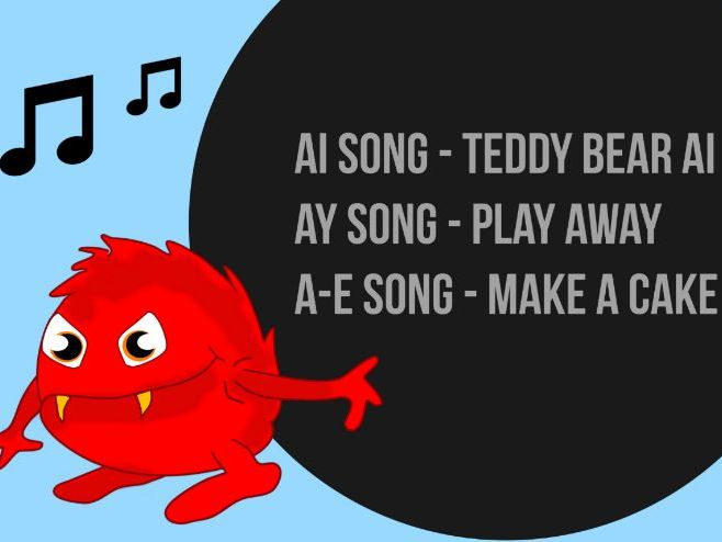 Monster Phonics Long A Songs and Lyrics ai, ay a-e