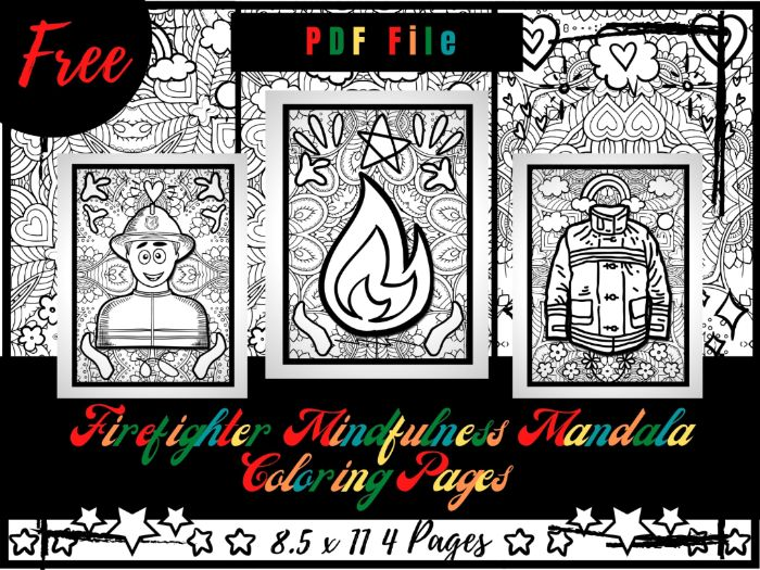 FREE Firefighter Mindfulness Mandala Coloring Pages, FREE Profession Coloring Printable Sheets PDF