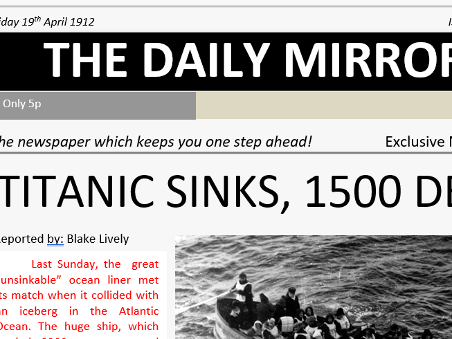 New article about the Titanic sinking, Smart boards and resources