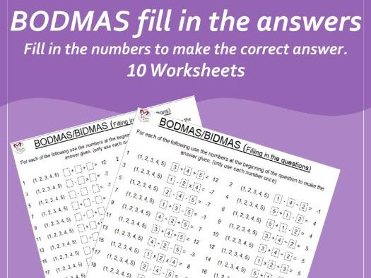 Fill in the Questions BODMAS (Order of operations)