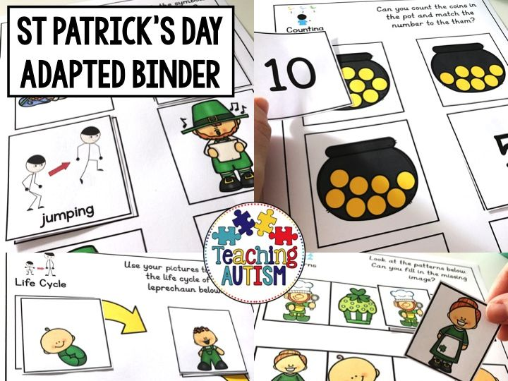 St Patrick's Day Adapted Work Binder for Special Education