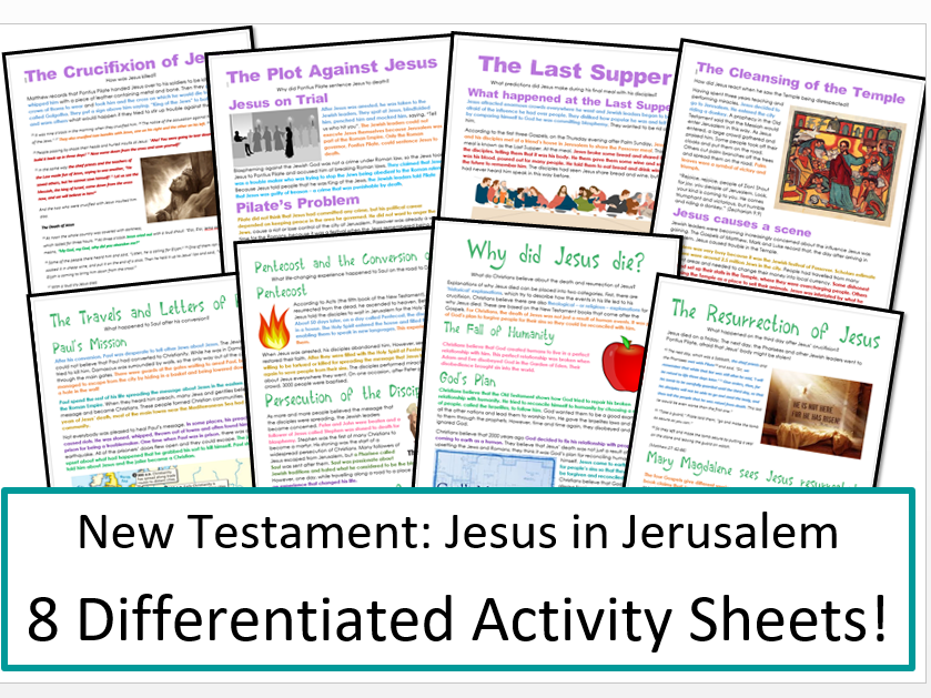 New Testament Study: Jesus in Jerusalem: Differentiated Activity Bundle!