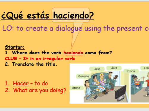 Mi gente - Qué estas haciendo? - Year 10 - Viva edexcel foundation