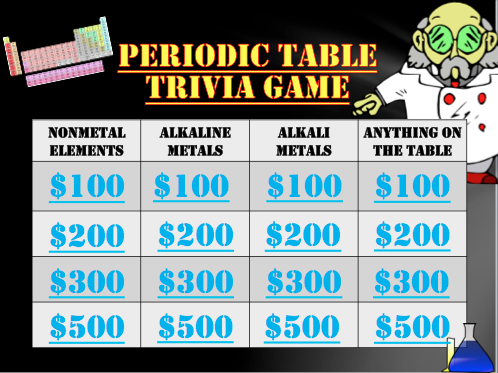 Periodic Table Trivia Game Fun for Science!