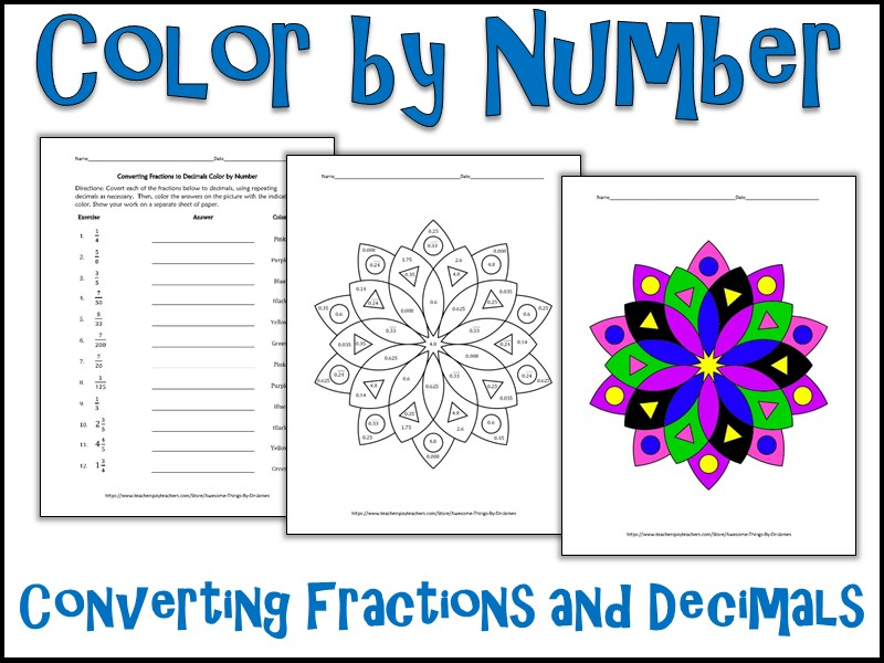 Converting Fractions and Decimals  Color by Number