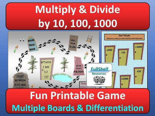 English In Italian: Multiply / Divide By 10, 100, 1000 Game By FullShelf