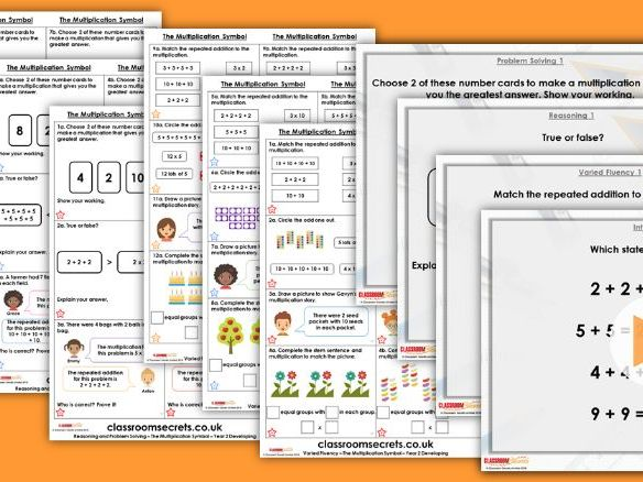Year 2 The Multiplication Symbol Autumn Block 4 Step 4 Lesson Pack