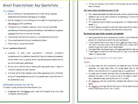 Great Expectations Key Quotations (Highly recommended by GCSE students)