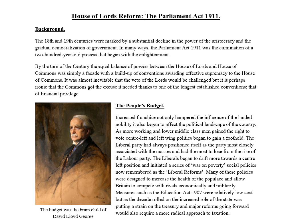 House of Lords Reform: The Parliament Act 1911