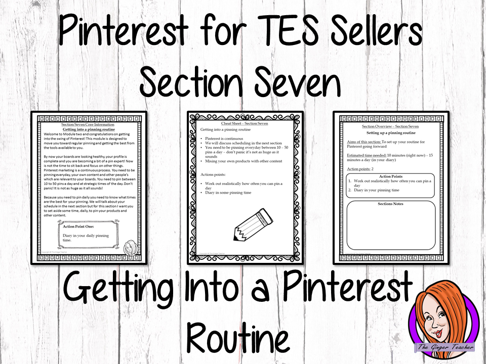 Pinterest for TES Sellers – Section Seven: Getting Into a Pinning Routine
