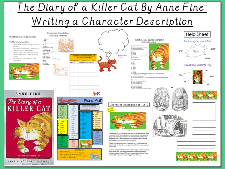 The Diary of a Killer Cat by Anne Fine- Writing a Character Description