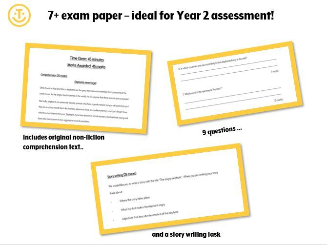 7+ English comprehension and writing paper - Y2 assessment