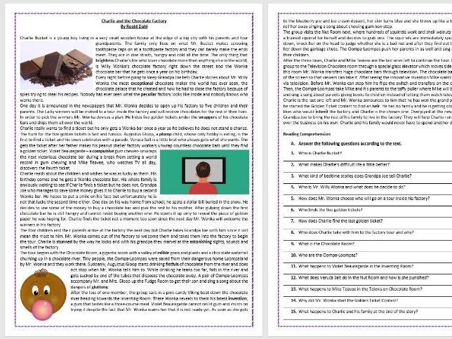 Charlie and the Chocolate Factory by Roald Dahl -  Reading Comprehension and Vocabulary Worksheet