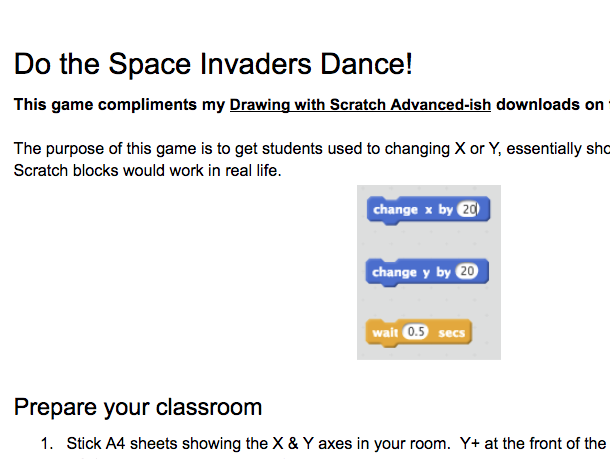 Do the Space Invaders dance - planning for Scratch