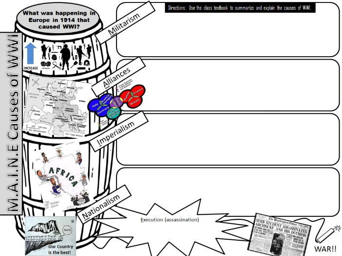 Causes of WWI Graphic Organizer