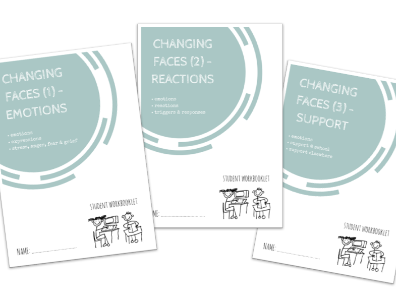 CHANGING FACES (EMOTIONS) bundle - x3 workbooklets EMOTIONS, REACTIONS, SUPPORT