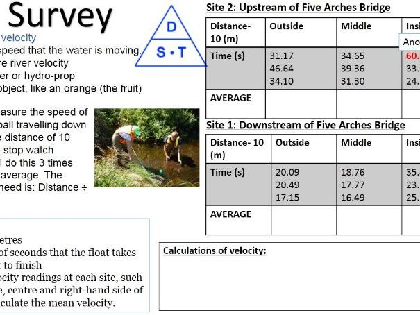 River Cray RIVER Fieldwork 5) River Cray Creating Our Data 2018 WITH ANSWERS
