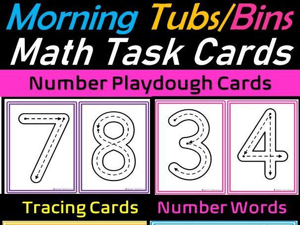 Math Center Playdough & Tracing Task Cards (1-10) for Preschool & Kindergarten