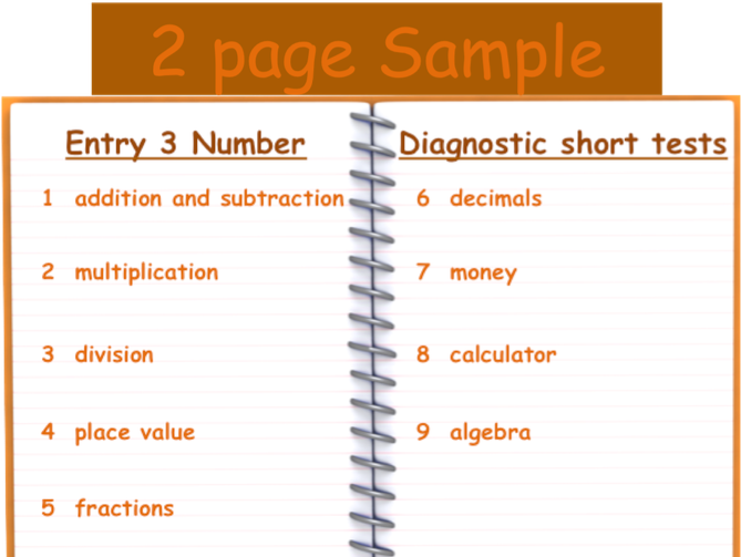 Functional Skills Diagnostic Tests - Number - E3 - Two Page Sample