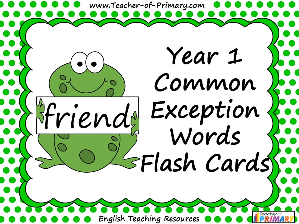 Year 1 Common Exception Words Flash Cards