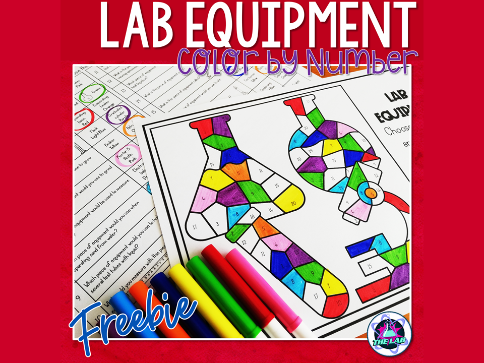 Lab Equipment Colour by Number FREEBIE