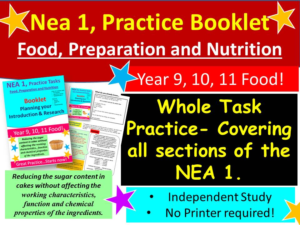 NEA 1, Food 'How to write...CUPCAKES' Practice Booklet for Students