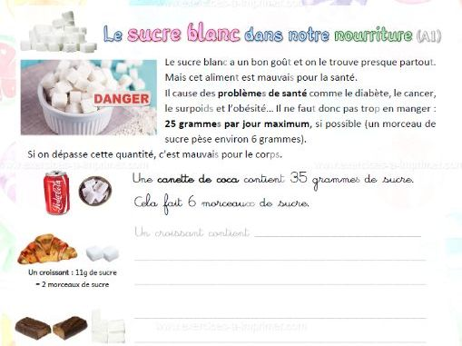 [French A1] White sugar in our food / Le sucre blanc dans notre nourriture