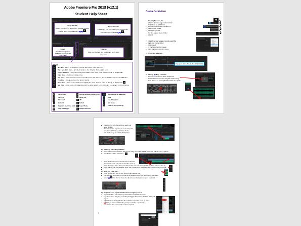Adobe Premiere Pro editing basics student tutorial sheet