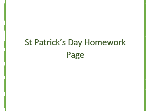 Saint Patricks Day Homework Page